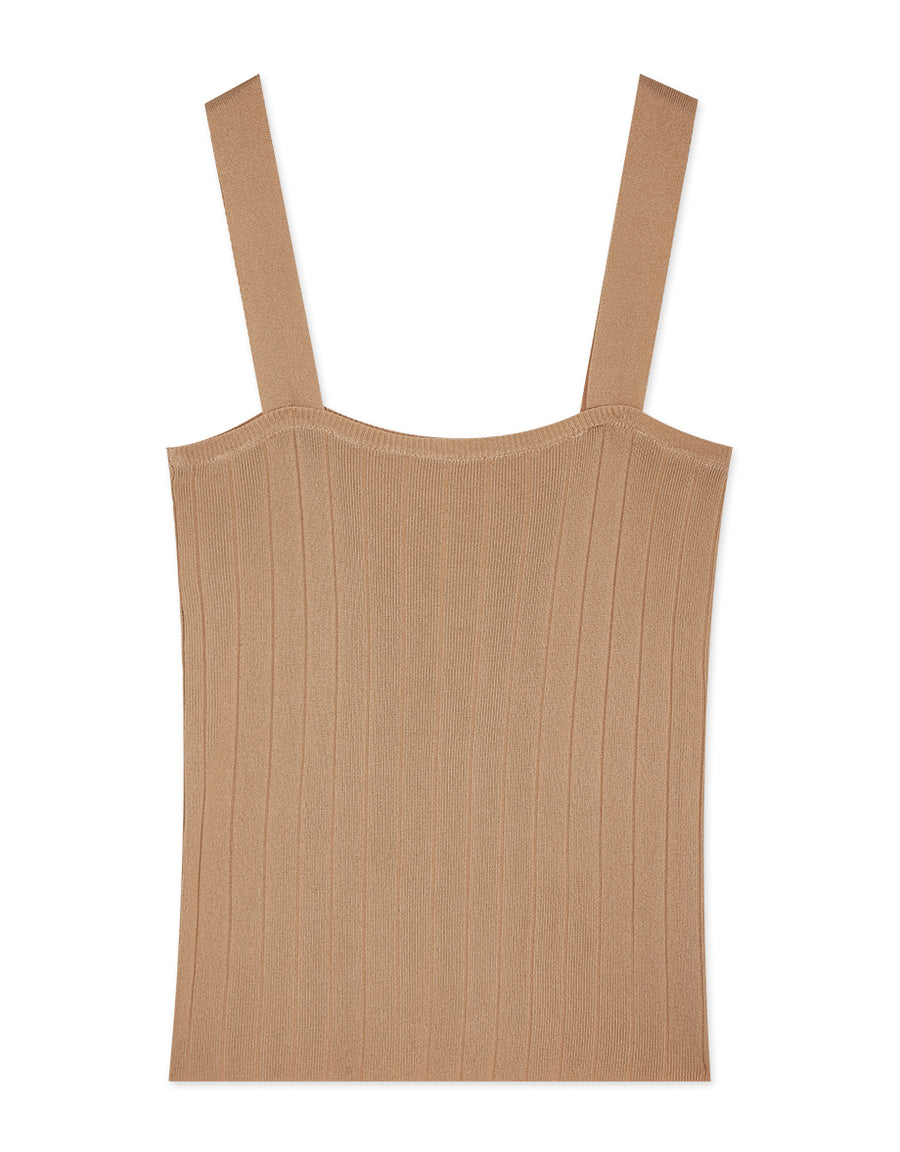 Thick Strap Ribbed Fitted Tank Top