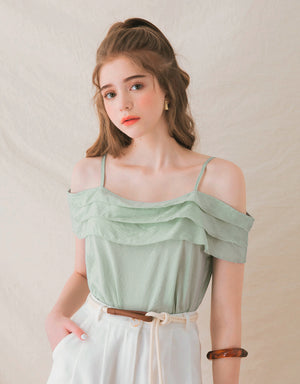 Layered Cut Out Shoulder Elastic Crop Top