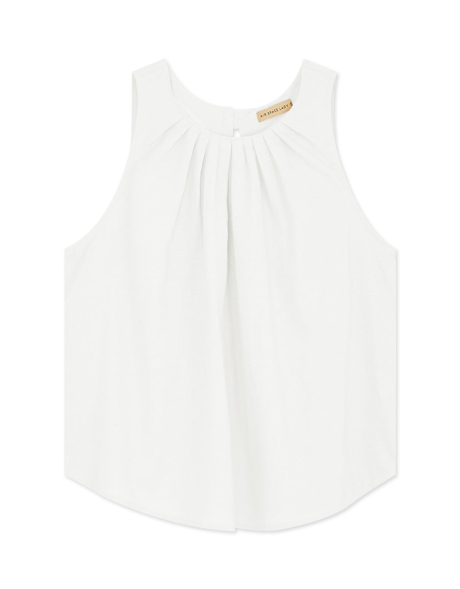 Round Neck Scrunch Linen Tank Top