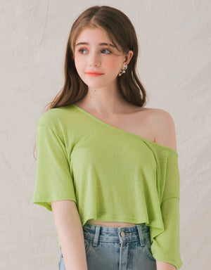 Big Round Neck Sloping Shoulder Loose Top