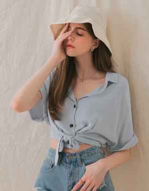 Tie Waist Foldover Sleeves Crop Blouse