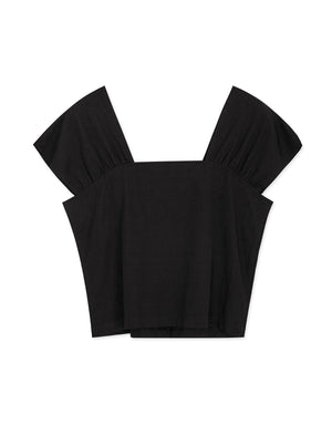 Wide Straps Square Neck Buttoned Top