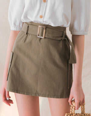 Pocket Design Slim Fit Belted Skirt