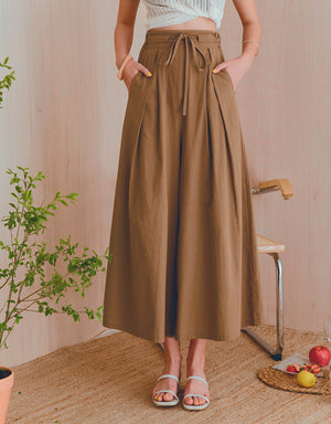 Tailored Creased Drawstring Ribbon Wide-Leg Pants