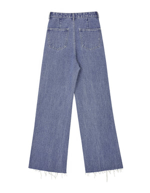 High Waisted Frayed Hem Denim Wide-Leg Pants