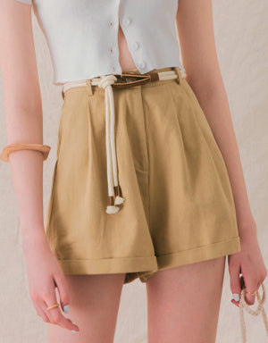 Cotton Slimming Turn-Up Belted Shorts