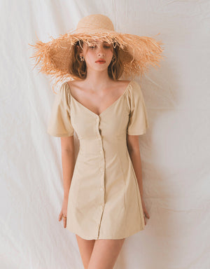 Vintage V-Neck Button Down Ribbon Dress