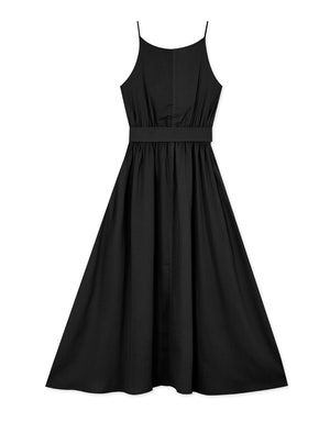 Plain Cinched Waist Cami Strap Belted Midi Dress