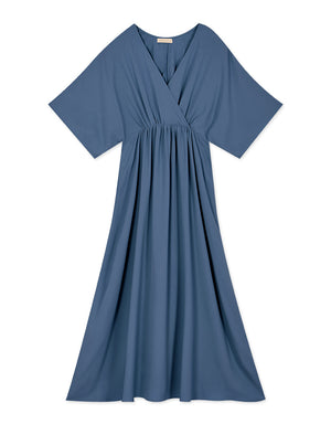 V-Neck Crossover Ribbon Stretch Waist Chiffon Midi Dress