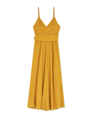 Thin Strap Crossover Striped Belted Maxi Dress
