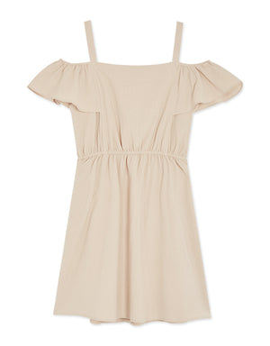 Cold Shoulder Ruffle Sleeve Button Down Dress