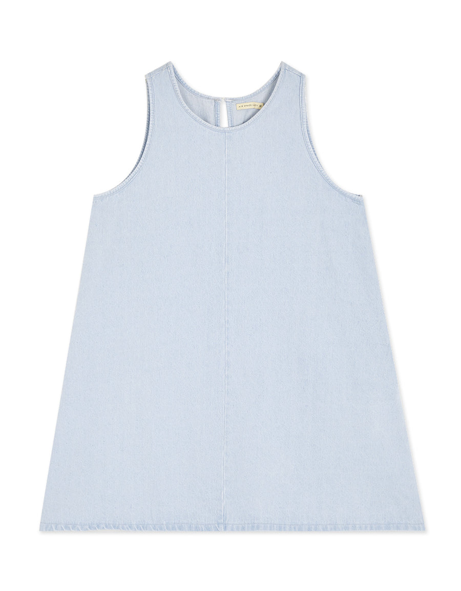 Round Neck A-Line Denim Tank Dress