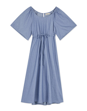 Round Neck Cinched Waist Drawstring Midi Dress