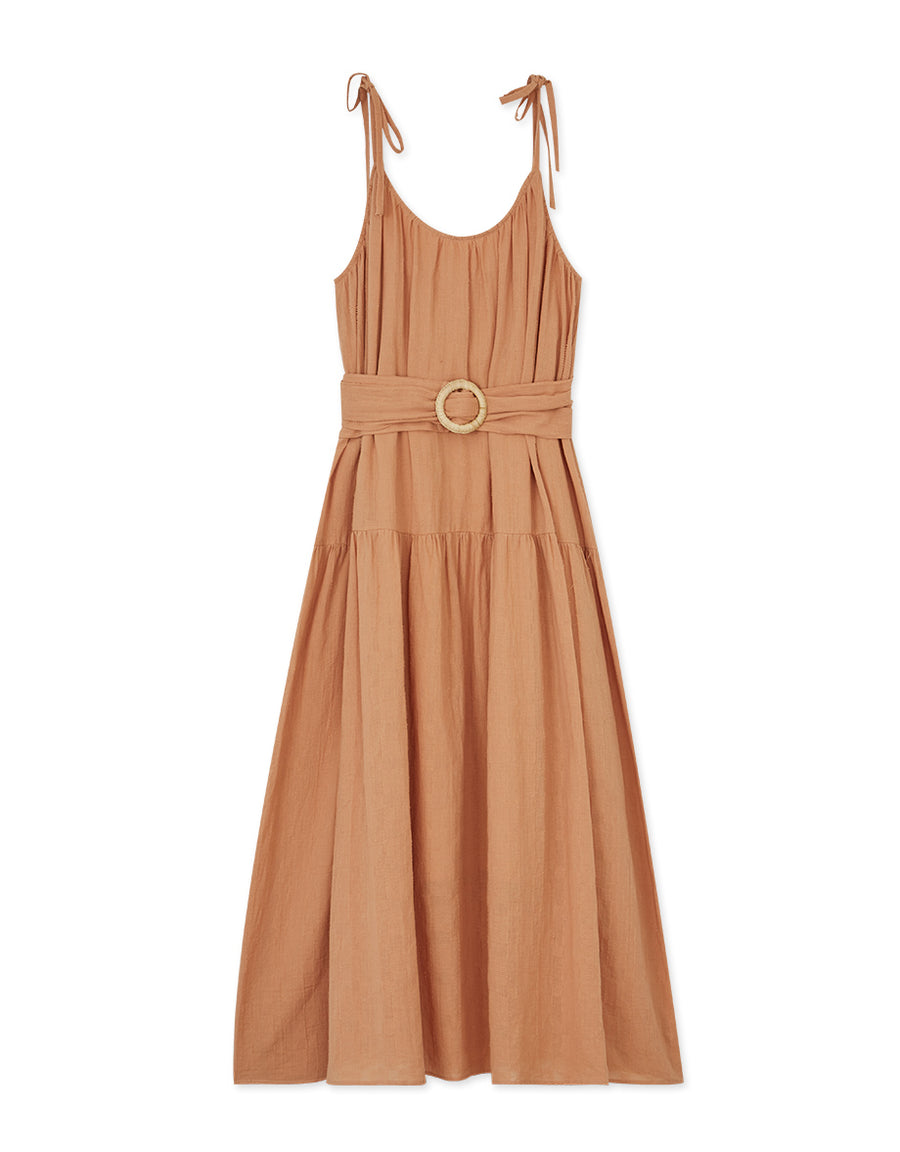 Sweet Ribbon Straps Loose Belted Maxi Dress