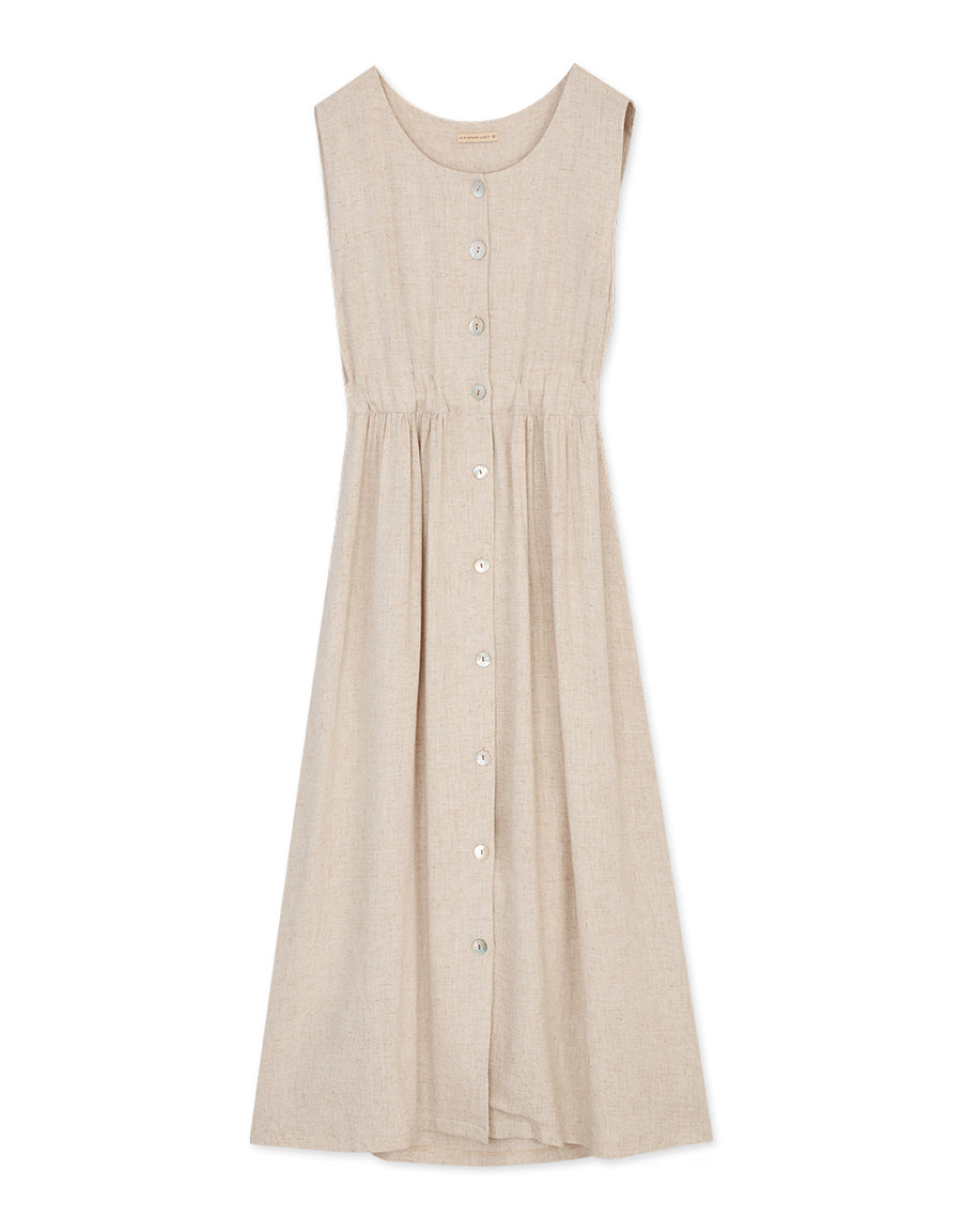 Ribbon Button Down Linen Dress