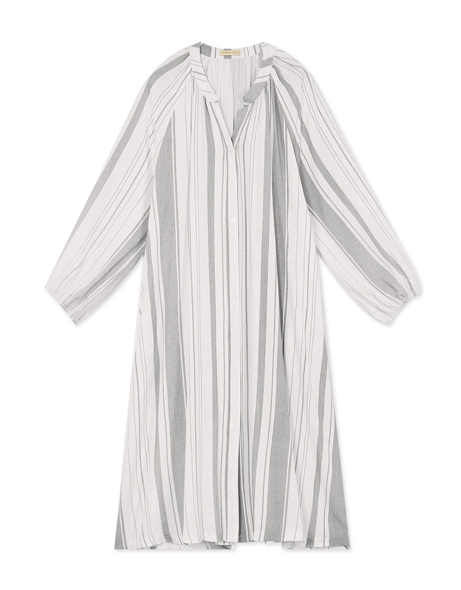 Striped See-Through Button Down Long Outerwear Blouse