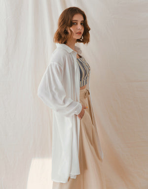 Creased Back Sheer Long Blouse Outerwear