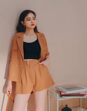 Lapel Double Buttons Blouse & Shorts Set Wear