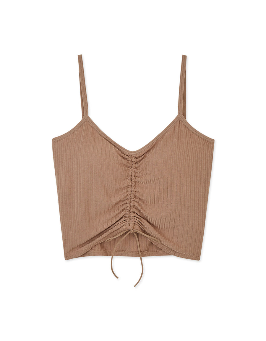 V-Neck Drawstring Scrunch Bra Top (With Detachable Padding)