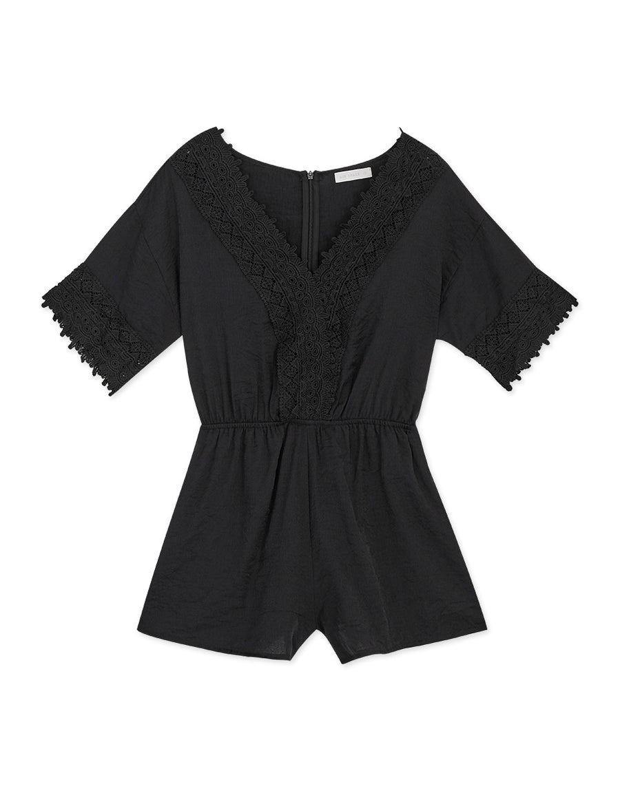 Lace Trimmed Elastic Playsuit