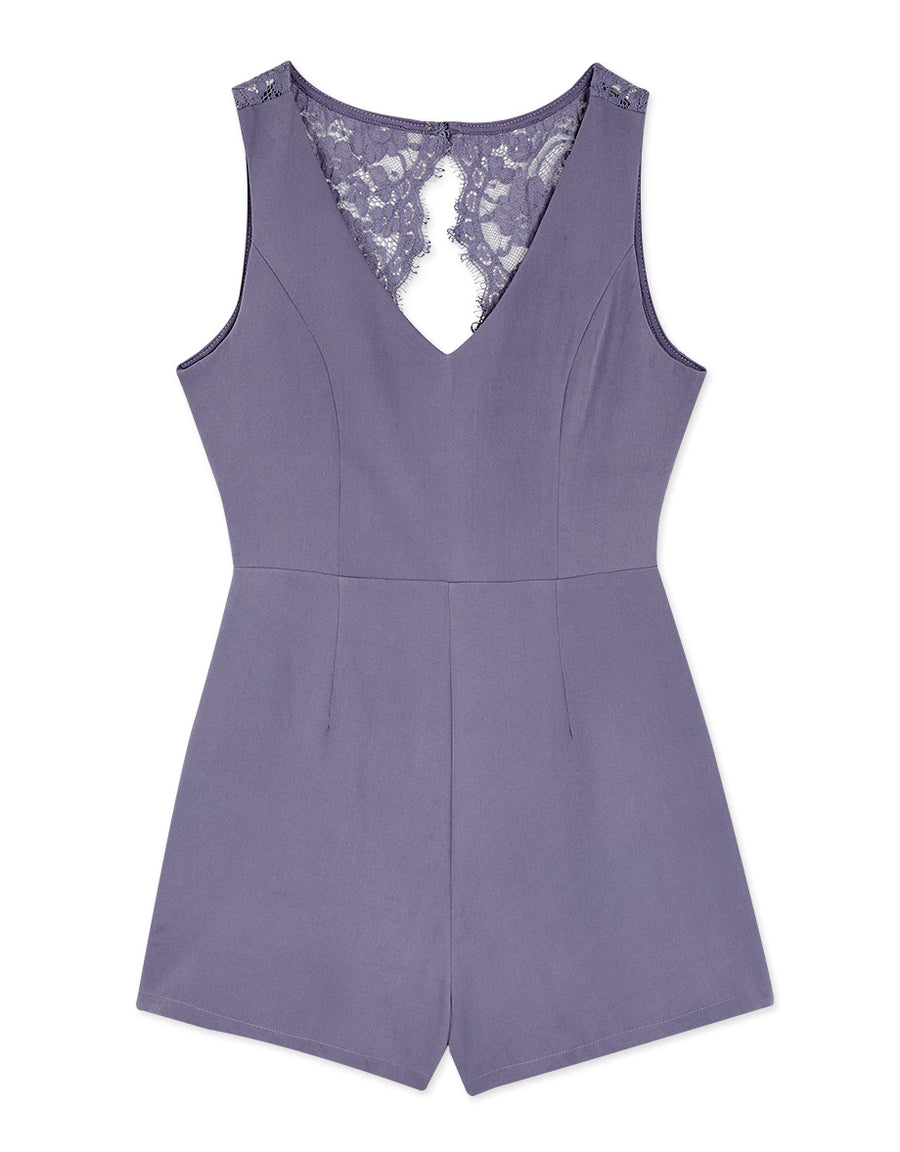 Low Cut Eyelash Lace Knot Back Sleeveless Playsuit