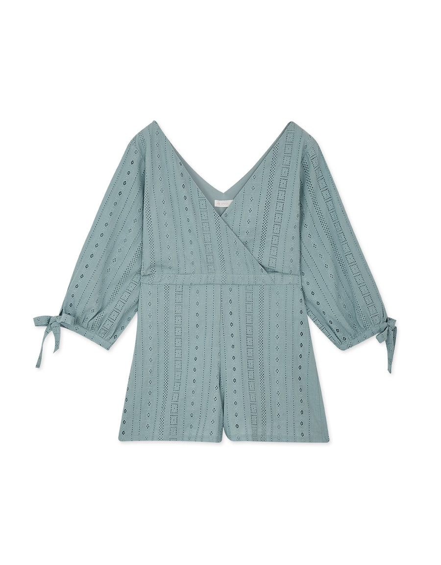 V-Neck Broderie Lace 3/4 Sleeves Playsuit