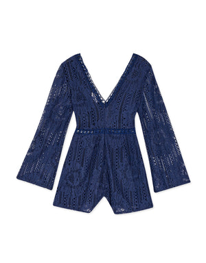 V-Neck Carved Lace Wide Sleeves Playsuit