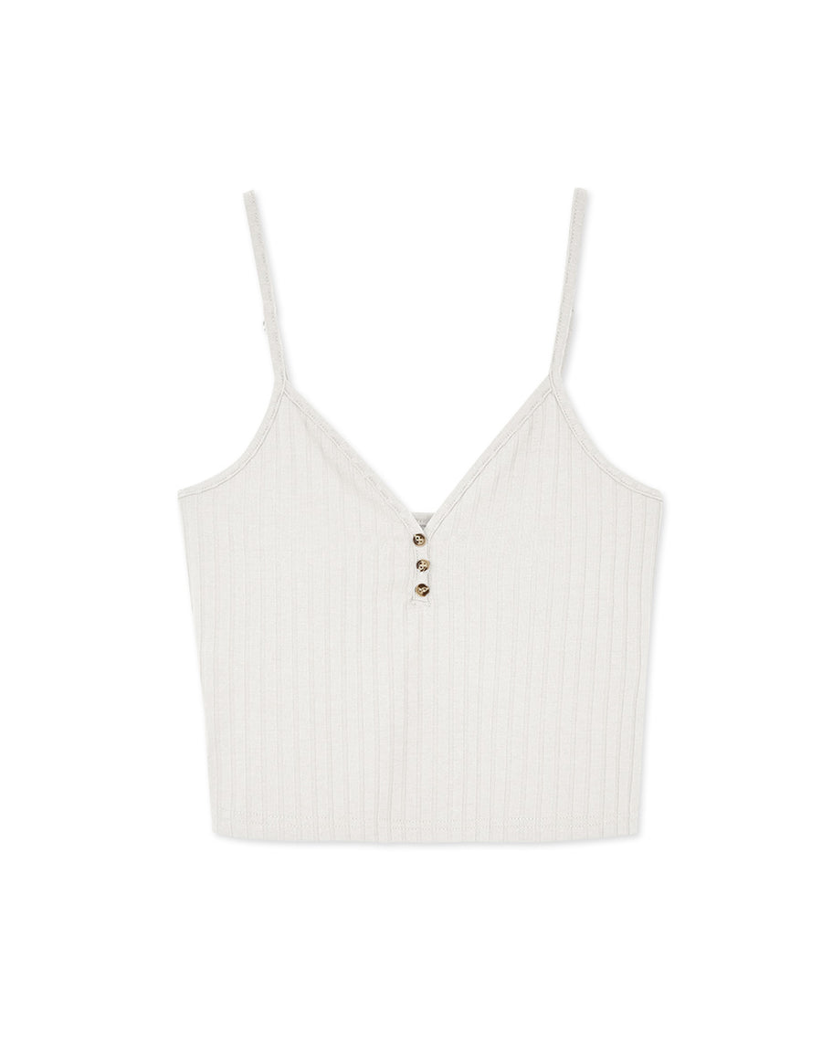 Low Cut V-Neck Buttoned Crop Bra Top (With Detachable Padding)