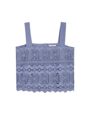Thick Straps Carved Lace Tank Top