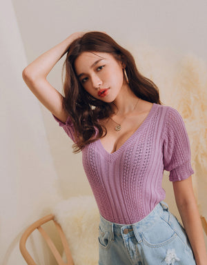 V-Neck Crochet Crop Top