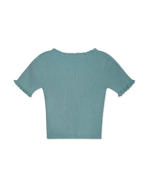 V-Neck Little Ruffle Hem Ribbed Top