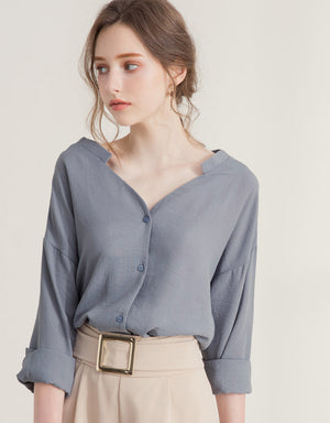 Sophisticated Matte V-Neck Blouse