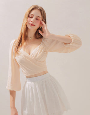 Crossover Scrunch Puff Sleeves Crop Top