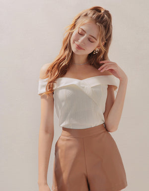Off Shoulder Foldover Lace Spliced Top