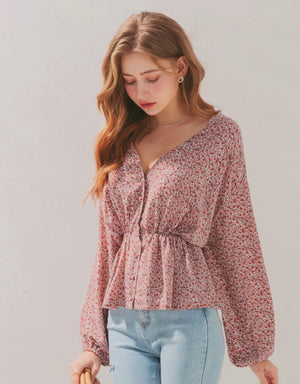 Floral Button-Down Cinched-Waist Peplum Top