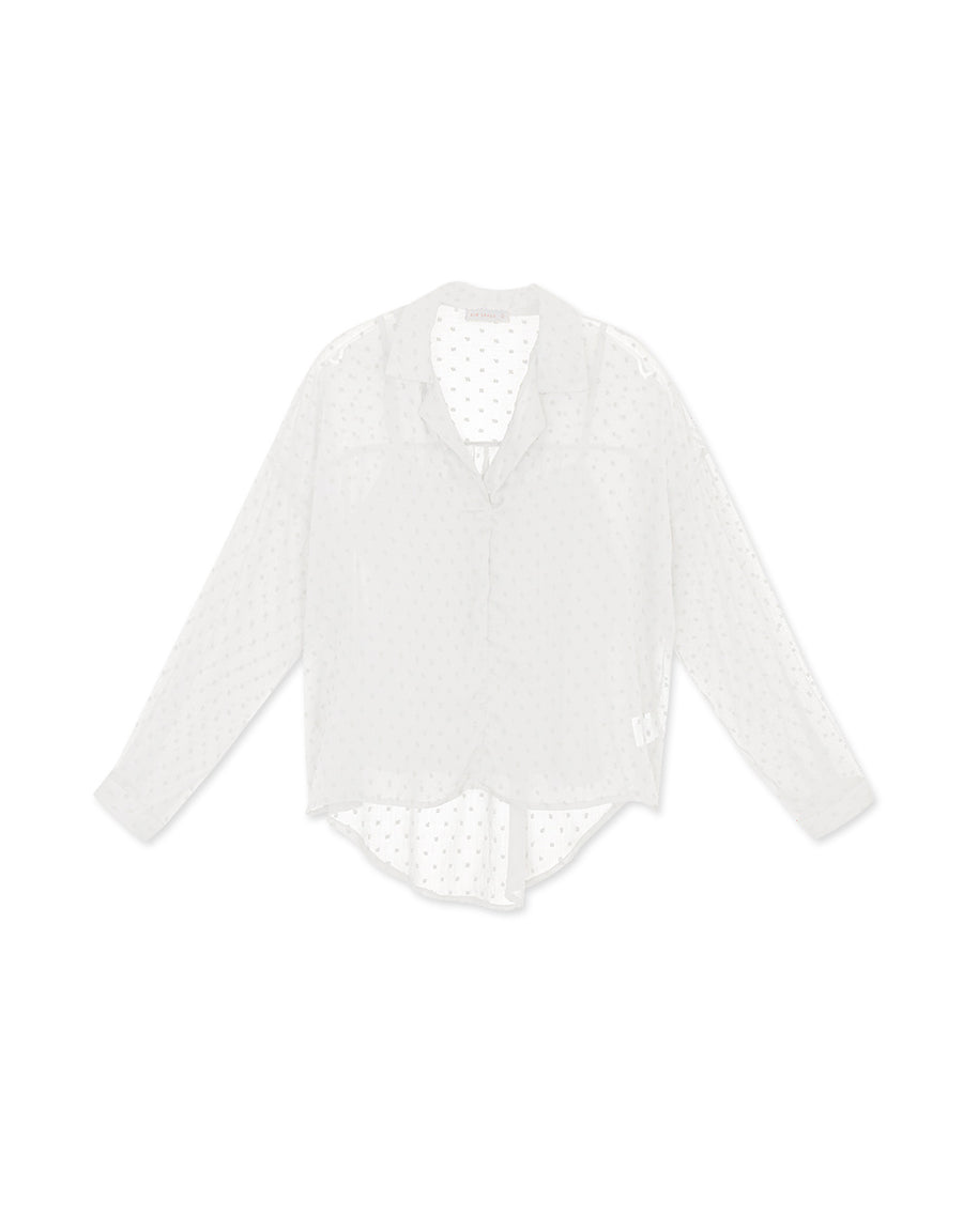 Transparent Swiss Dot Two-Piece Blouse