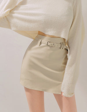 High-Waisted Asymmetrical Belted Leather Skort