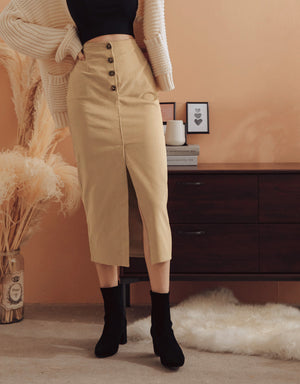 Corduroy High-Waisted Button Up Slit Midi Skirt