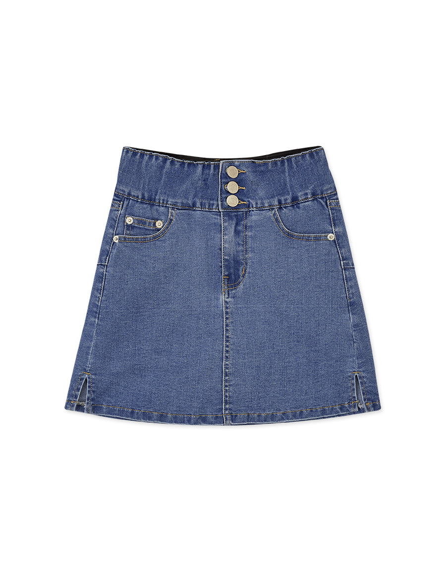 No Filter Shape-Up Slimming Side Slit Denim Skort