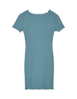V-Neck Lettuce-Edge Hem Bodycon Knitted Dress