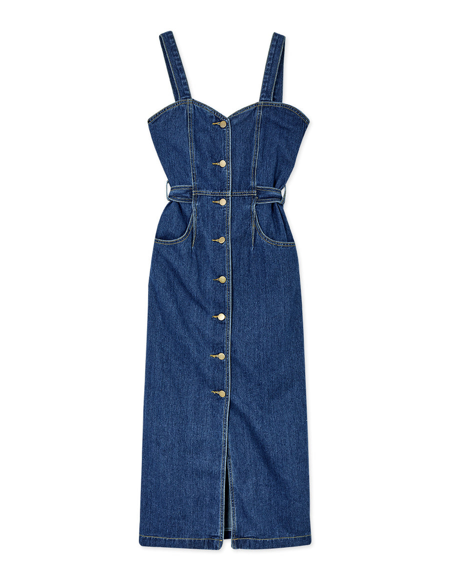 Button Down Denim Fitted Midi Tank Dress