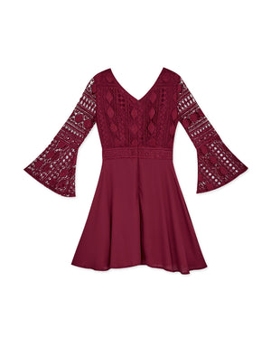Carved Lace Trumpet Sleeves Mini Dress