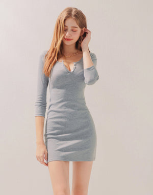 Buttoned 3/4 Sleeves Bodycon Mini Dress