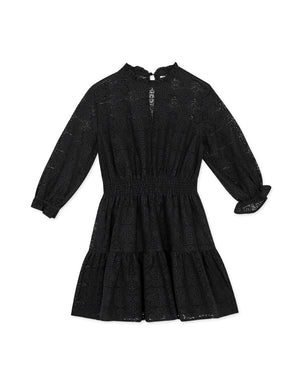 Vintage Lace Ruffle Puff Sleeves Dress