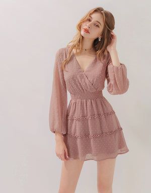 V-Neck Layered Swiss Dot Chiffon Mini Dress