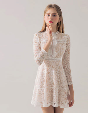 Vintage Carved Lace Flare Dress