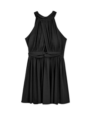 Elegant Halter Hollow Flare Mini Dress (With Padding)