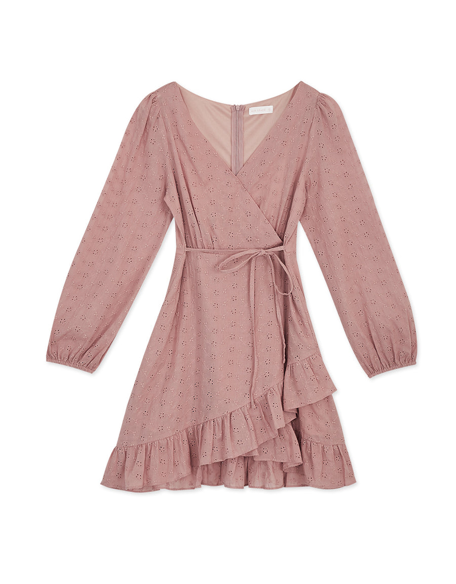 Asymmetrical Lace Ruffle Ribbon Mini Dress