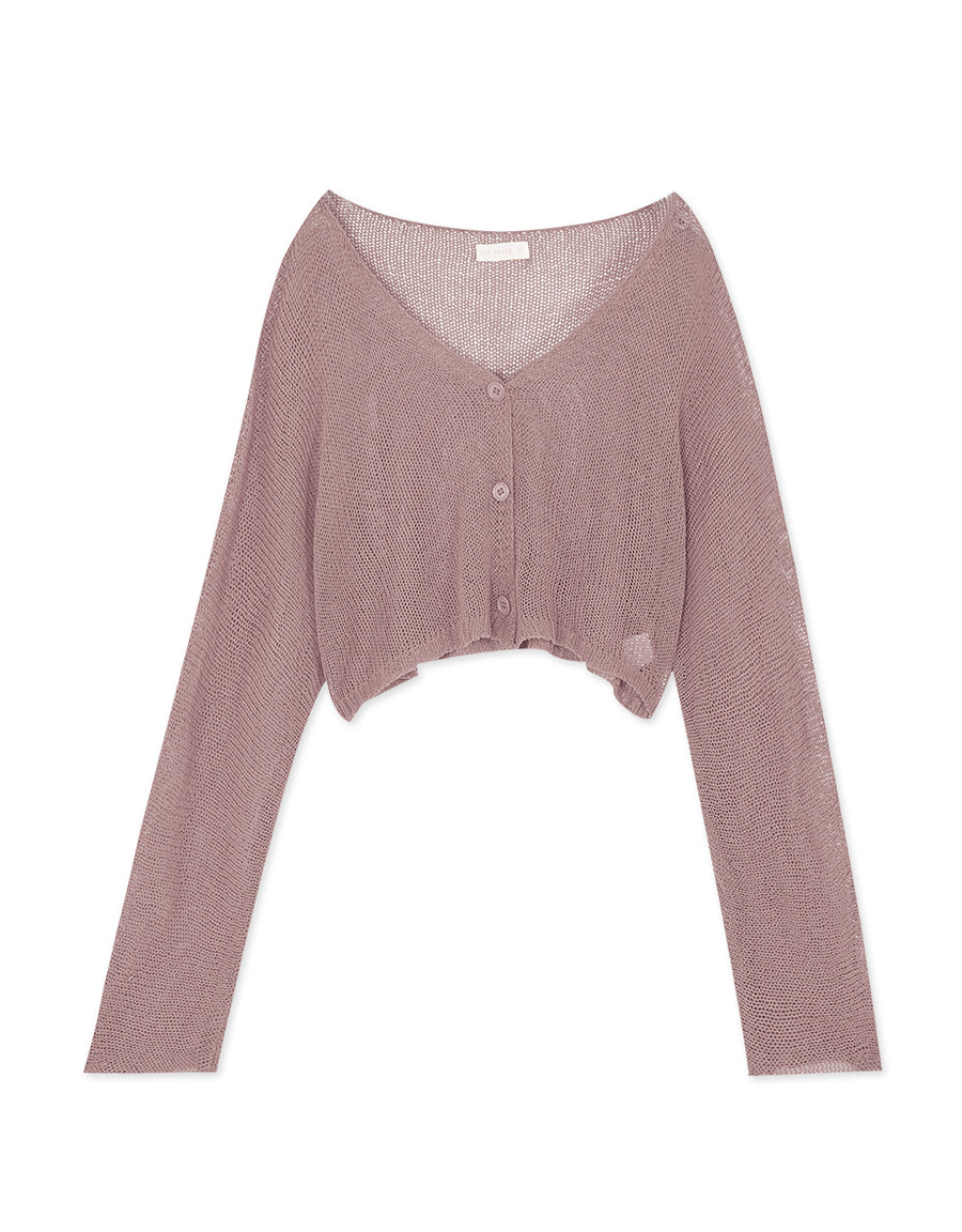 Buttoned Transparent Fine Knitted Crop Cardigan