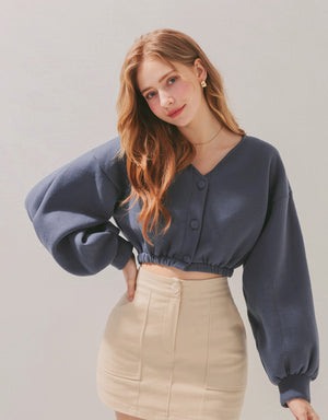 Elastic Hem Puff Sleeves Breasted Crop Top